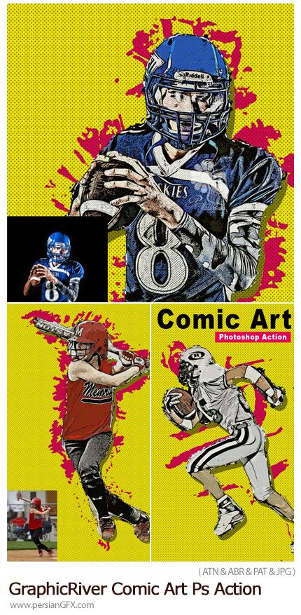 دانلود اکشن فتوشاپ تبدیل تصاویر به طرح هنری کمیک از گرافیک ریور - GraphicRiver Comic Art Photoshop Action