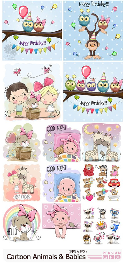 دانلود وکتور حیوانات کارتونی جذاب با کودکان - Cute Cartoon Animals And Babies