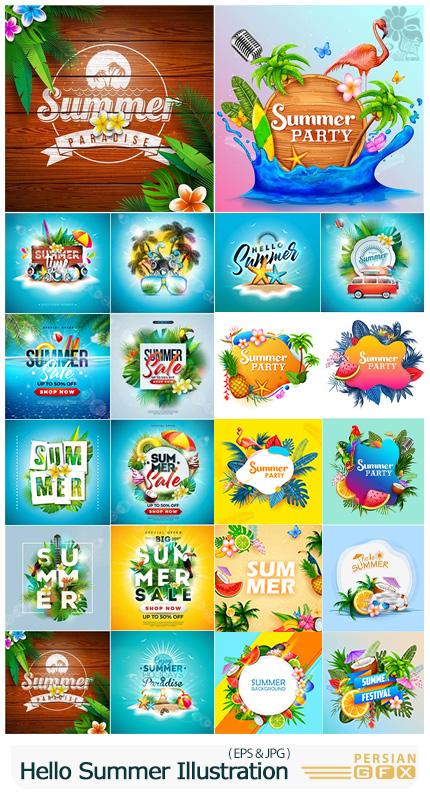 دانلود مجموعه وکتور طرح های تابستانی متنوع - Vector Hello Summer Holiday Illustration 03