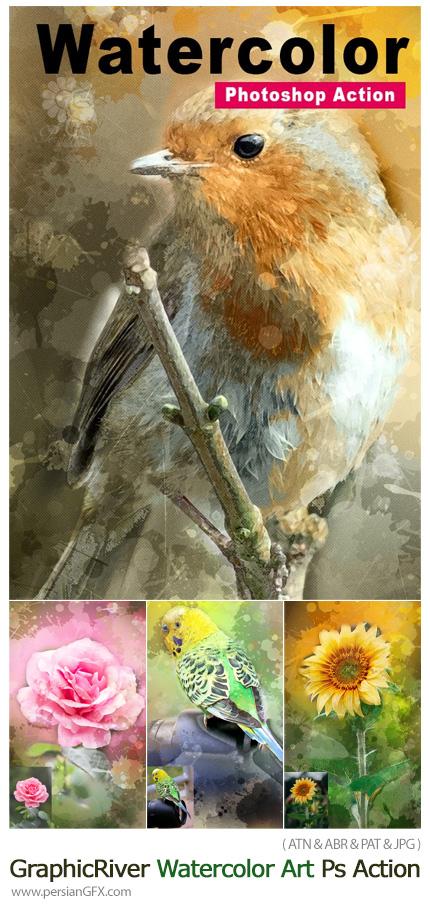 دانلود اکشن فتوشاپ ساخت نقاشی آبرنگی هنری - GraphicRiver Watercolor Art Photoshop Action Vol.3