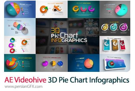 دانلود پروژه افترافکت نمودارهای اینفوگرافیکی سه بعدی به همراه آموزش ویدئویی - Videohive 3D Pie Chart Infographics