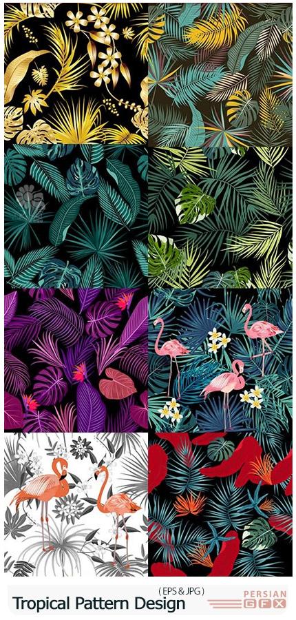 دانلود پترن وکتور گل های گرمسیری تابستانی - Tropical Exotic Floral Leaf Seamless Pattern Design