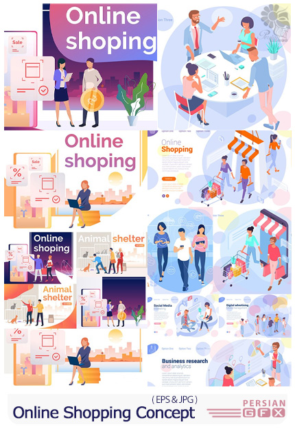 دانلود وکتور طرح های مفهومی فروشگاه آنلاین، شبکه های اجتماعی تجاری و بازاریابی اینترنتی - Online Shopping, Internet Marketing And Social Network Business Concept