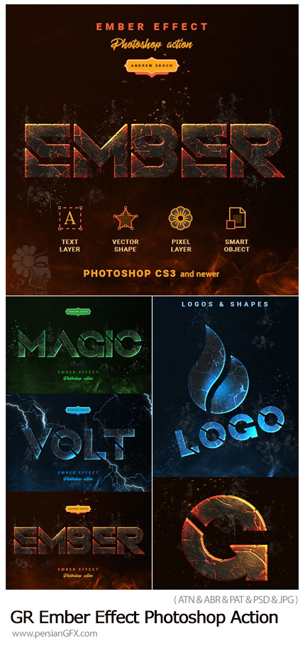 دانلود اکشن فتوشاپ تبدیل متن و اشکال به مواد مذاب آتشفشانی - GraphicRiver Ember Effect Photoshop Action