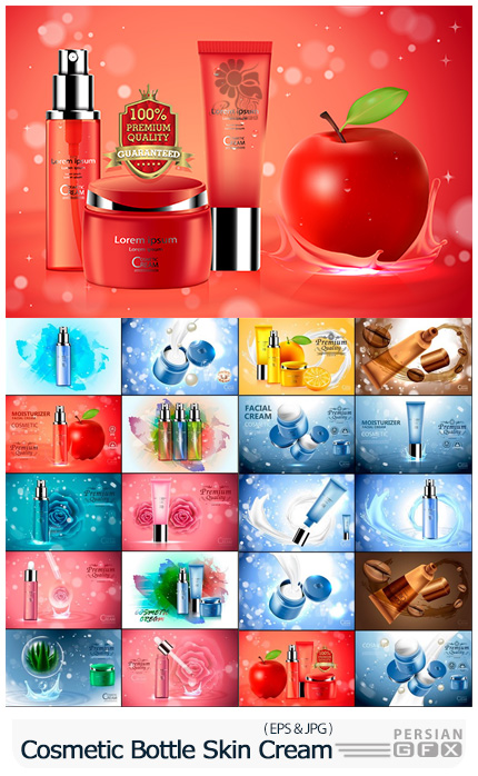 دانلود وکتور بسته بندی های لوکس کرم های پوست برای طراحی پوستر تبلیغاتی - Luxury Cosmetic Bottle Package Skin Care Cream
