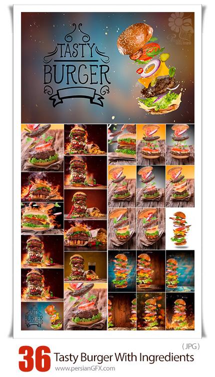 دانلود 36 عکس با کیفیت همبرگر و مواد اولیه برای طراحی پوستر و فلایر تبلیغاتی - Big Tasty Burger With Flying Ingredients