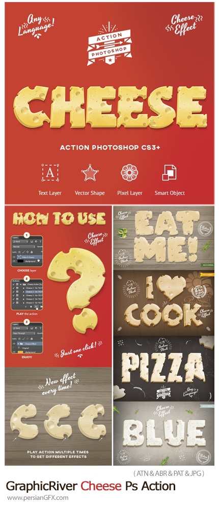دانلود اکشن فتوشاپ ساخت متن و اشکال پنیری - GraphicRiver Cheese Photoshop Action