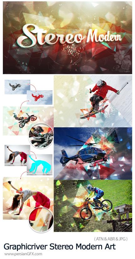 دانلود اکشن فتوشاپ ساخت تصاویر هنری مدرن با افکت هندسی - Graphicriver Stereo Modern Art