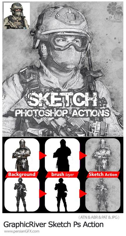 دانلود اکشن فتوشاپ تبدیل تصاویر به طرح اسکچ - GraphicRiver Sketch Photoshop Action