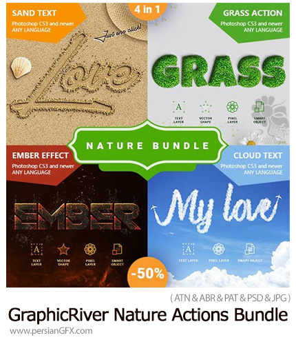 دانلود مجموعه اکشن فتوشاپ ایجاد 4 افکت طبیعت بر روی متن - GraphicRiver Nature Actions Bundle