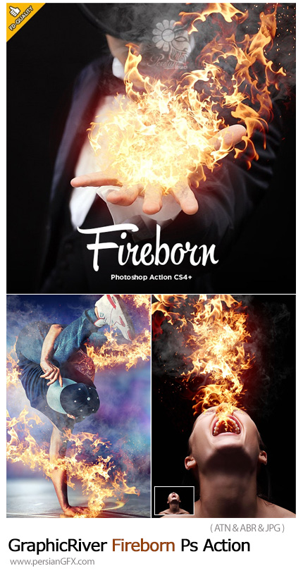 دانلود اکشن فتوشاپ ایجاد افکت آتش سوزی بر روی تصاویر به همراه آموزش ویدئویی - GraphicRiver Fireborn Photoshop Action