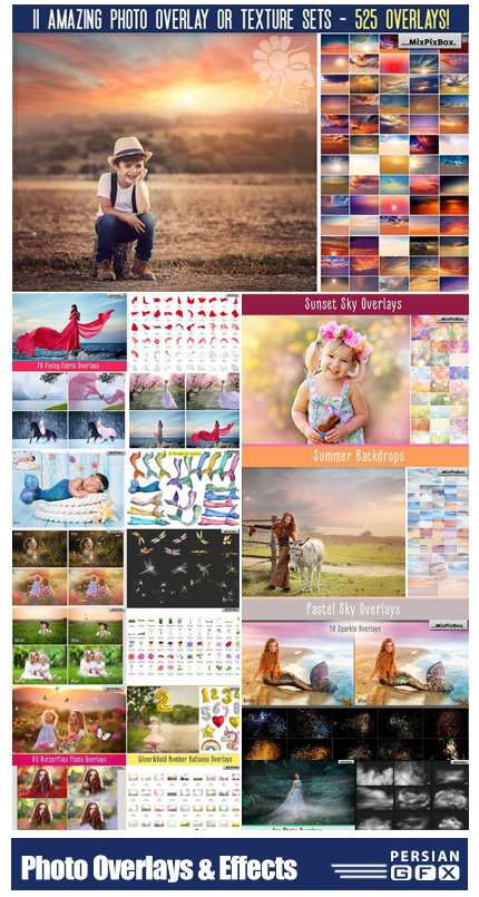 دانلود 525 تصویر پوششی و افکت تصاویر خلاقانه متنوع - Dealjumbo 525 Creative Photo Overlays And Effects