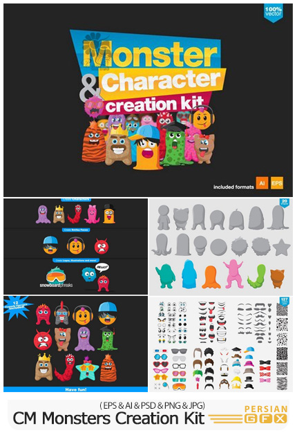 دانلود کیت طراحی کاراکترهای کارتونی هیولا - CM Monsters And Character Creation Kit