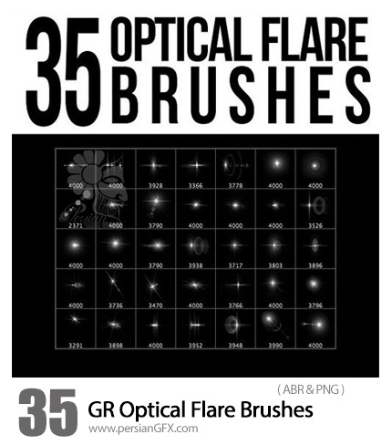 دانلود 35 براش فتوشاپ نورهای درخشان متنوع - Graphicriver 35 Optical Flare Brushes