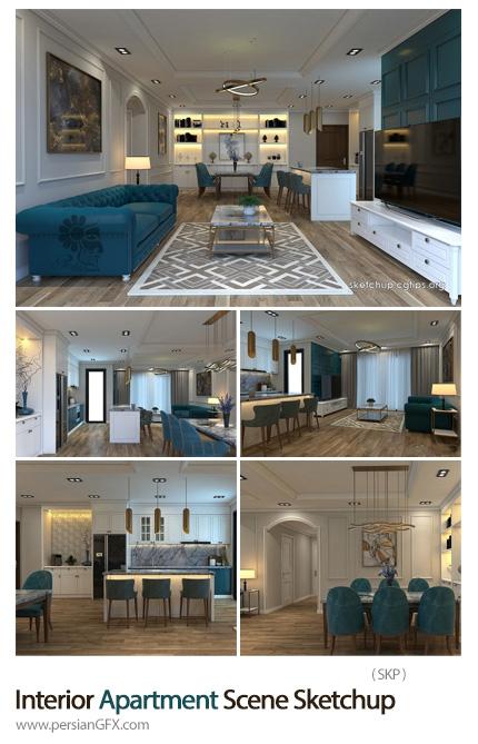 دانلود طرح اسکچاپ سه بعدی طراحی داخلی آپارتمان - Interior Apartment Scene Sketchup By Duy An