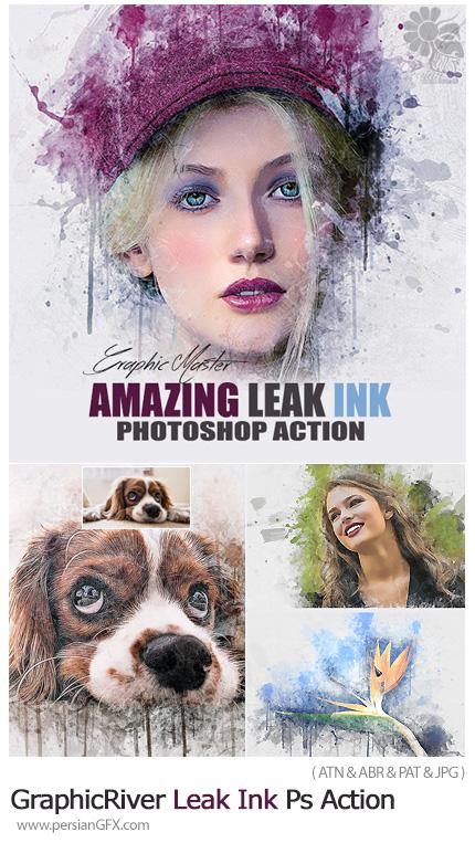 دانلود اکشن فتوشاپ تبدیل تصاویر به نقاشی با افکت لکه های جوهری - GraphicRiver Leak Ink Photoshop Action