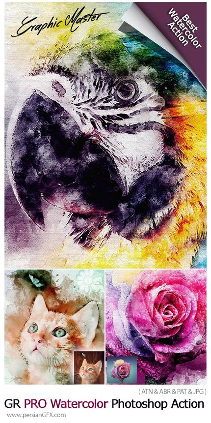 دانلود اکشن فتوشاپ ساخت نقاشی آبرنگی حرفه ای از تصاویر - GraphicRiver PRO Watercolor Photoshop Action