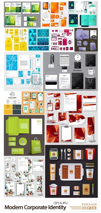 دانلود مجموعه وکتور ست اداری شامل کارت ویزیت، سربرگ، نامه، پاکت نامه و ... - Modern Corporate Identity Template