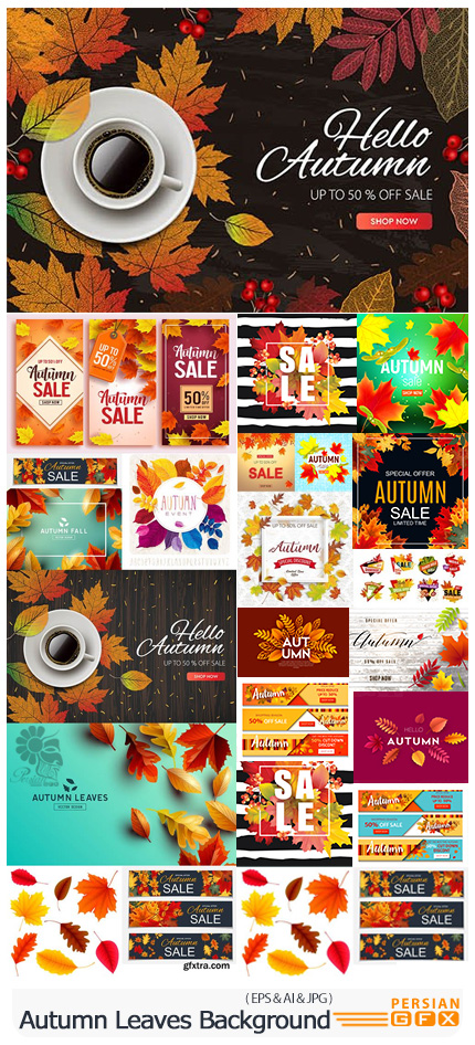 دانلود وکتور بک گراند های رنگارنگ برگ های پاییزی - Autumn Leaves Decorative Sale Abstract Background