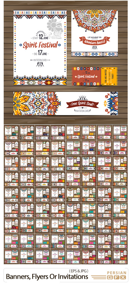دانلود مجموعه بنر، فلایر و کارت پستال با طرح های سنتی - Collection Of Banners, Flyers Or Invitations