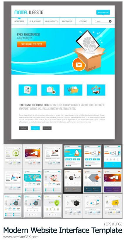 دانلود وکتور قالب آماده رابط کاربری وب سایت - Clean Modern Website Interface Template