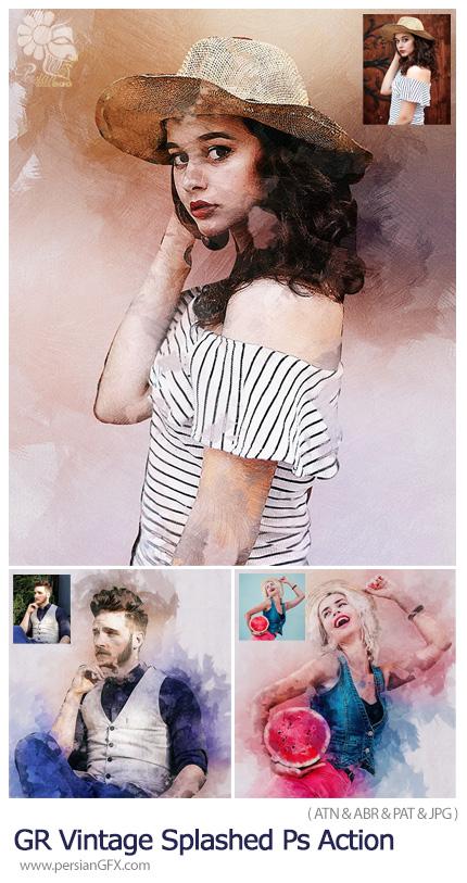 دانلود اکشن فتوشاپ تبدیل تصاویر به نقاشی وینتیج با افکت لکه های رنگ پاشیده شده - GraphicRiver Vintage Splashed Photoshop Action