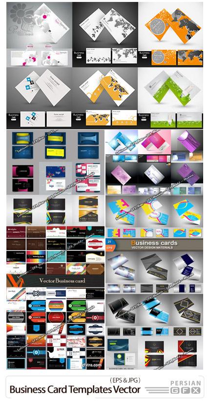 دانلود 91 قالب وکتور کارت ویزیت با طرح های متنوع - 91 Business Card Templates Collection In Vector