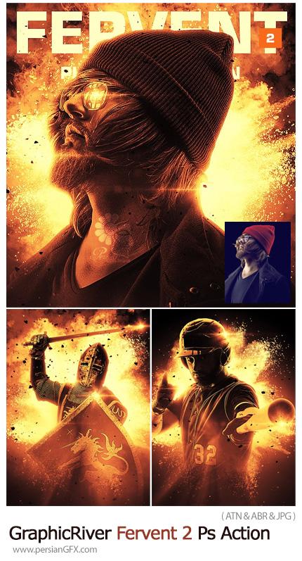دانلود اکشن فتوشاپ ایجاد افکت دود و آتش بر روی تصاویر - GraphicRiver Fervent 2 Photoshop Action