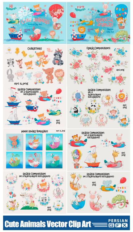 دانلود کلیپ آرت عناصر طراحی حیوانات کارتونی شامل فریم، بت و جقه و پترن - Cute Animals Vector Clip Art