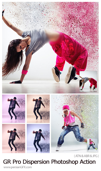 دانلود اکشن فتوشاپ ایجاد افکت ذرات پراکنده بر روی تصاویر - GraphicRiver Pro Dispersion Photoshop Action