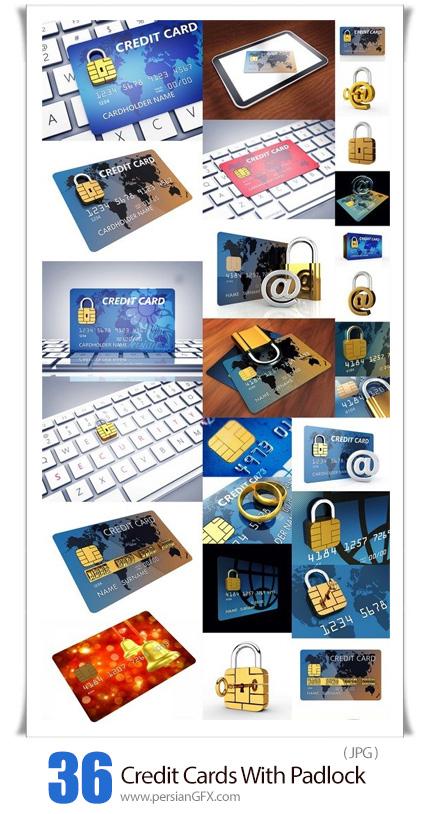 دانلود 36 عکس با کیفیت کارت اعتباری به همراه قفل امنیتی - Credit Cards With Padlock Chip Isolated On White