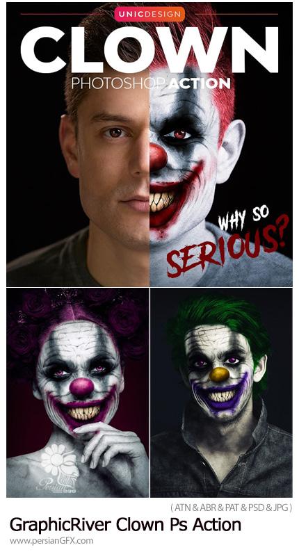 دانلود اکشن فتوشاپ ساخت پرتره دلقک به همراه آموزش ویدئویی - GraphicRiver Clown Photoshop Action
