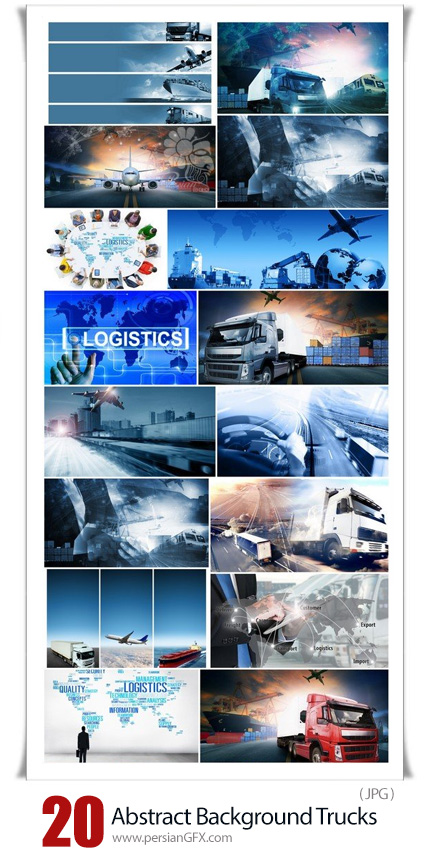دانلود 20 بک گراند انتزاعی کامیون و وسایل حمل و نقل - Abstract Background Trucks And Transport Highway And Delivering