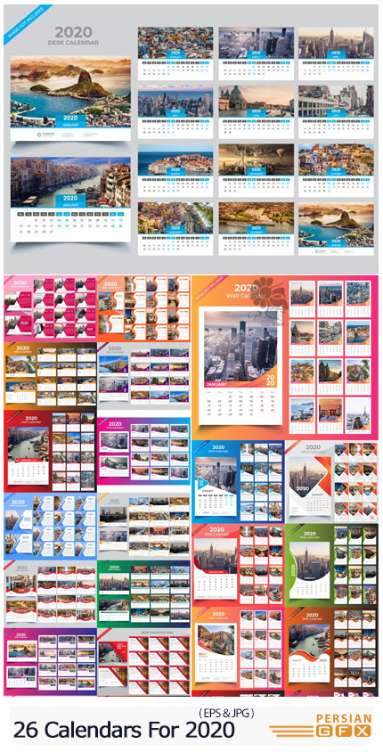 دانلود 26 وکتور تقویم رومیزی و دیواری 2020 - 26 Calendars For 2020 In Vector