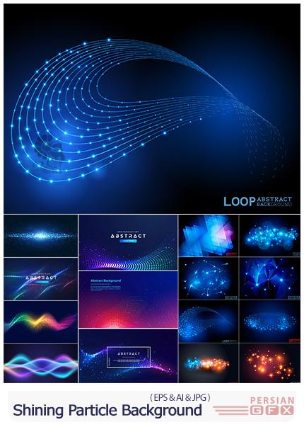 دانلود وکتور بک گراندهای انتزاعی با ذرات درخشان رنگی - Shining Abstract Particle Background