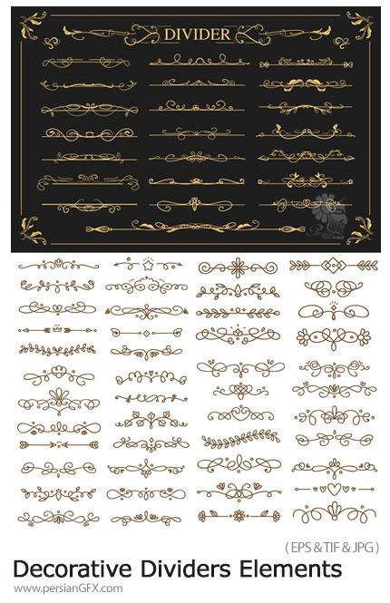 دانلود 70 وکتور حاشیه های تزئینی گلدار - Decorative Dividers Elements Vector Graphics