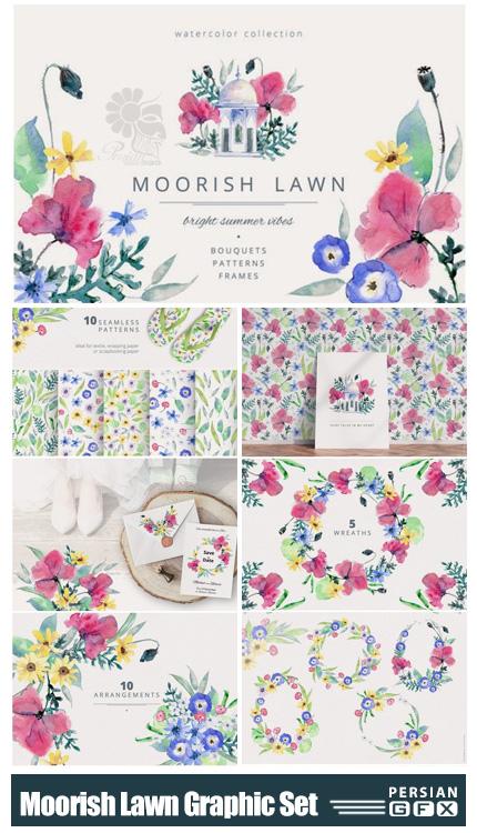 دانلود کلیپ آرت عناصر گلدار آبرنگی شامل پترن، فریم و المان های گرافیکی - Moorish Lawn Graphic Set