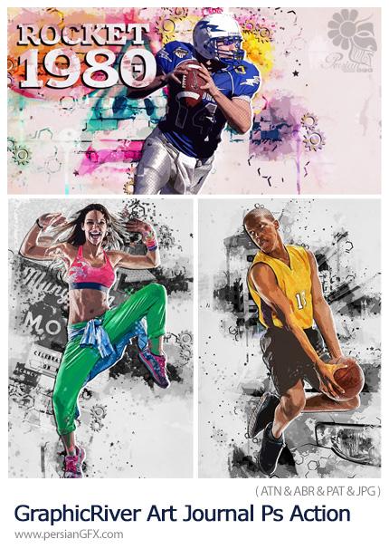 دانلود اکشن فتوشاپ ساخت تصاویر هنری روی مجله - GraphicRiver Art Journal Photoshop Action
