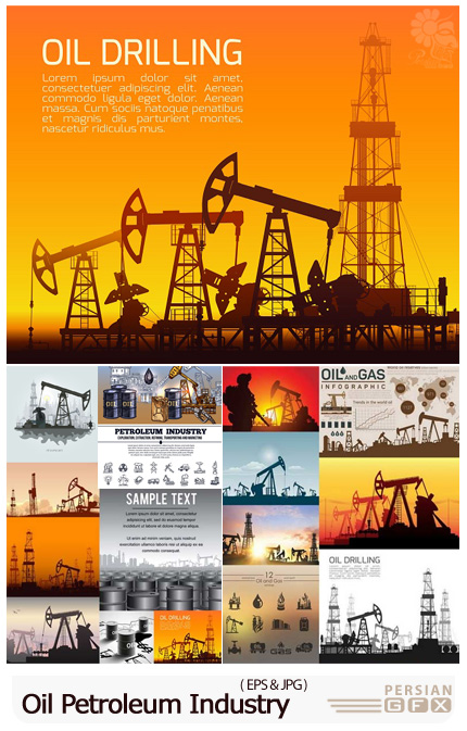 دانلود 15 وکتور پالایشگاه نفت، بشکه، نفتکش، چراغ، دکل و قطره - 15 Oil Pump Petroleum Industry Vector