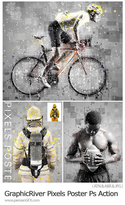 دانلود اکشن فتوشاپ تبدیل تصاویر به پوستر پیکسلی به همراه آموزش ویدئویی - GraphicRiver Pixels Poster Photoshop Action