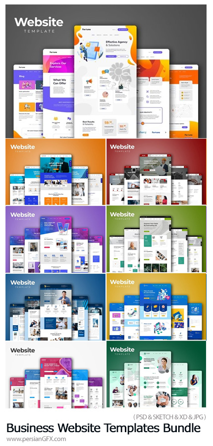 دانلود مجموعه قالب آماده وب سایت تجاری - Corporate Business Website Templates Bundle