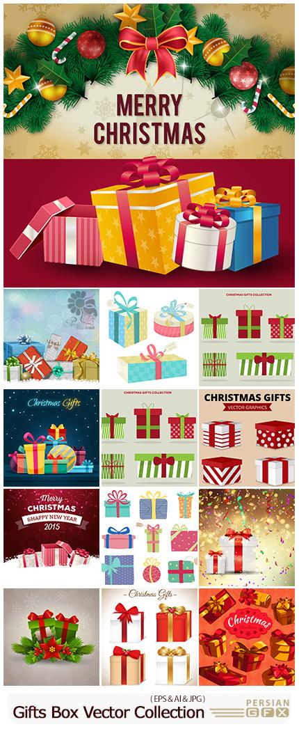 دانلود مجموعه وکتور جعبه کادو و هدیه با طرح های متنوع - Gifts Box Vector Collection