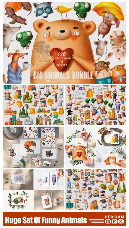 دانلود کلیپ آرت حیوانات کارتونی بامزه شامل پترن، بک گراند و المان های کارتونی - Huge Set Of Funny Animals