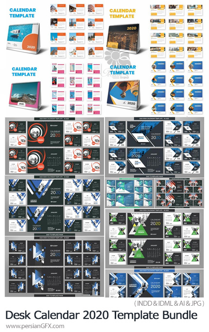 دانلود مجموعه قالب ایندیزاین و وکتور تقویم رومیزی 2020 - Desk Calendar 2020 Template Bundle