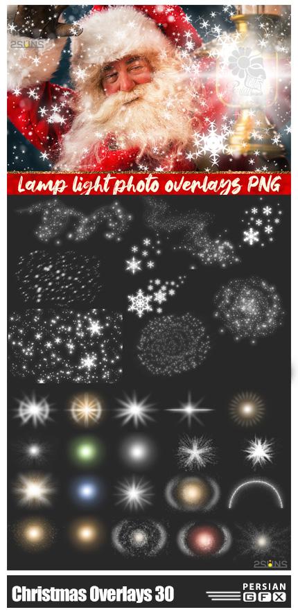 دانلود 30 تصویر پوششی تزئینی برای عکس های با تم زمستان و کریسمس - DesignBundles 30 Christmas Photo Overlays