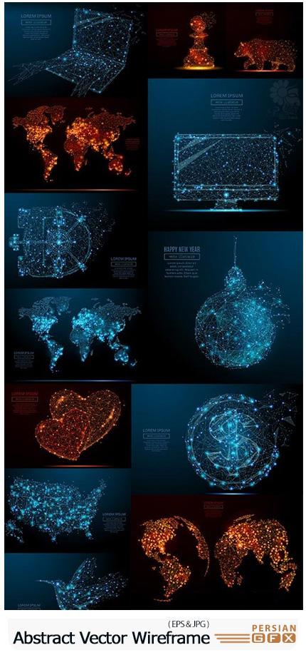 دانلود وکتور اشکال انتزاعی شبکه ای - Abstract Image Vector Wireframe Concept