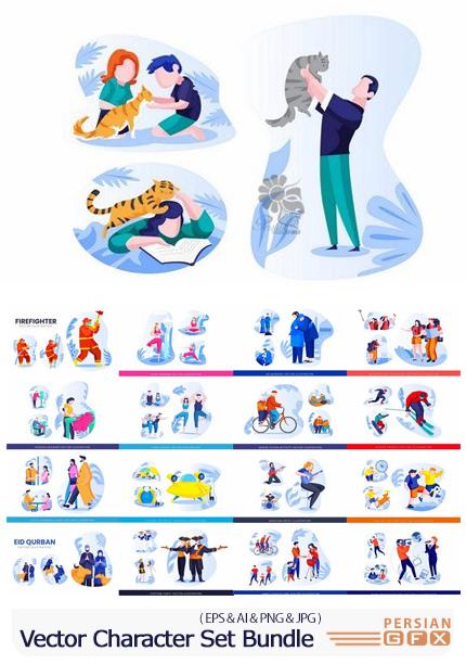 دانلود وکتور کاراکترهای کارتونی مردم در فعالیت های مختلف - Vector Character Set Bundle