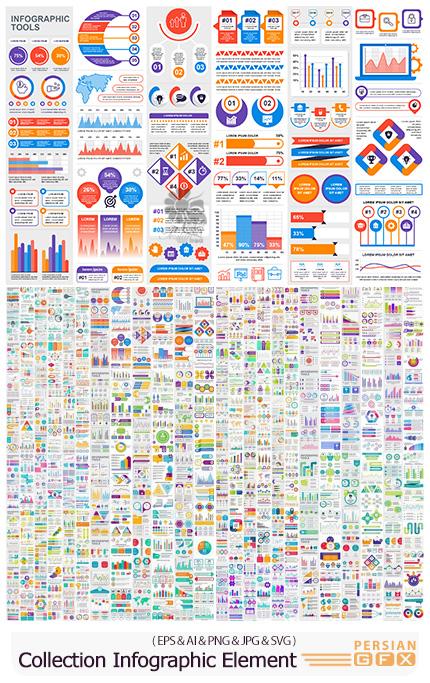دانلود مجموعه وکتور نمودارهای اینفوگرافیکی با عناصر گرافیکی متنوع - Collection Infographic Elements Template Graphics Bundle