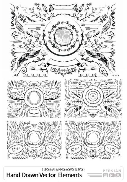 دانلود وکتور عناصر تزئینی دست کشیده برای طراحی شامل فریم، بت و جقه، گل و بوته و ... - Hand Drawn Natura Vector Illustration Elements