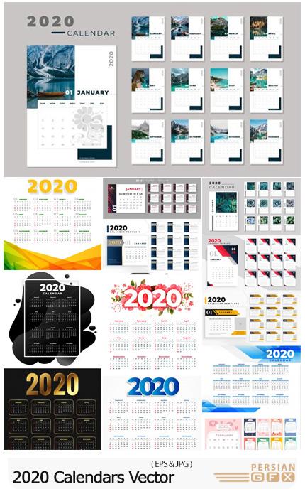 دانلود 13 وکتور تقویم رومیزی و دیواری 2020 - 2020 Calendars Vector Collection